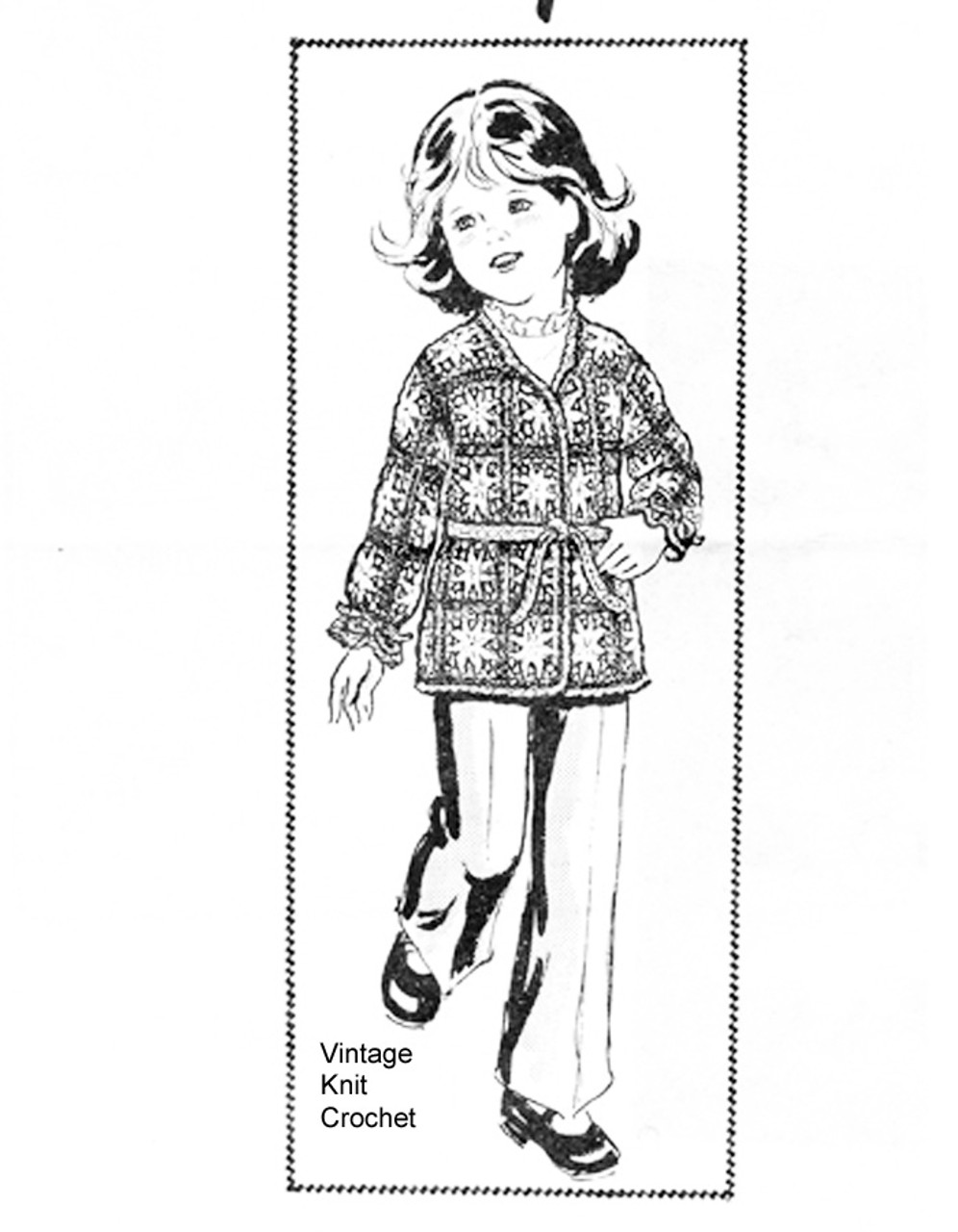 Girls Crocheted Wrap jacket Pattern, granny squares, Mail Order 848