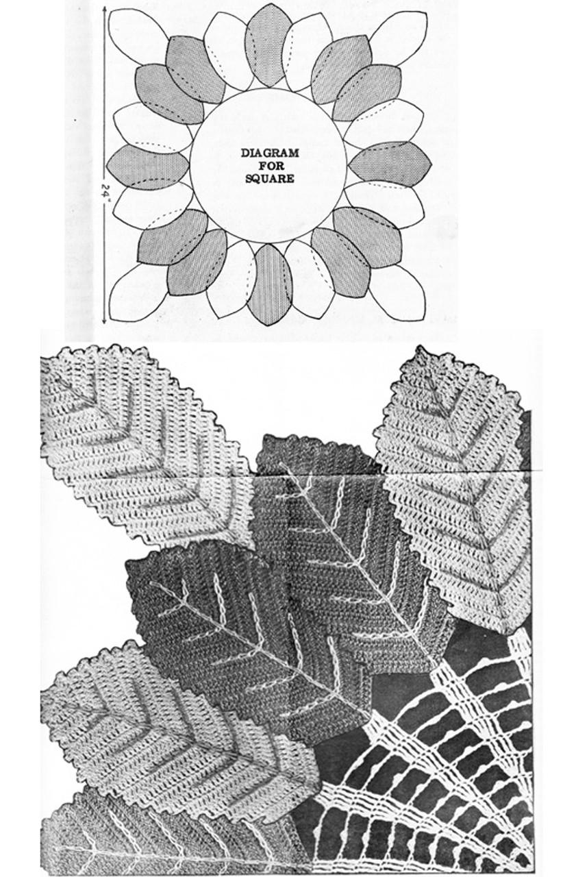 Leaf crochet doily pattern illustration for Design 7339