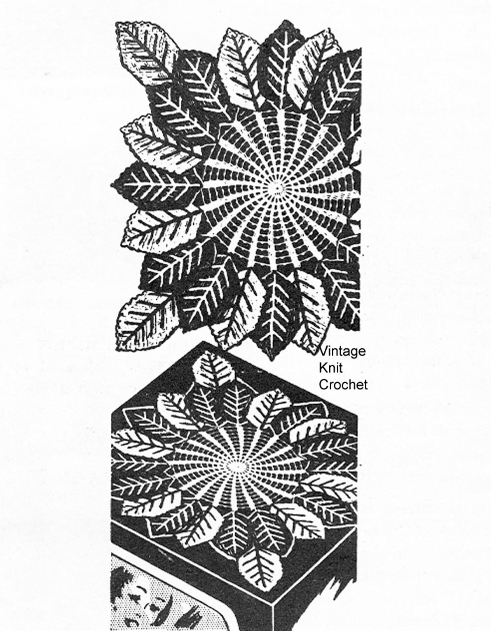 Mail Order Square Centerpiece Doily, Leaf Pattern, Alice Brooks 7339