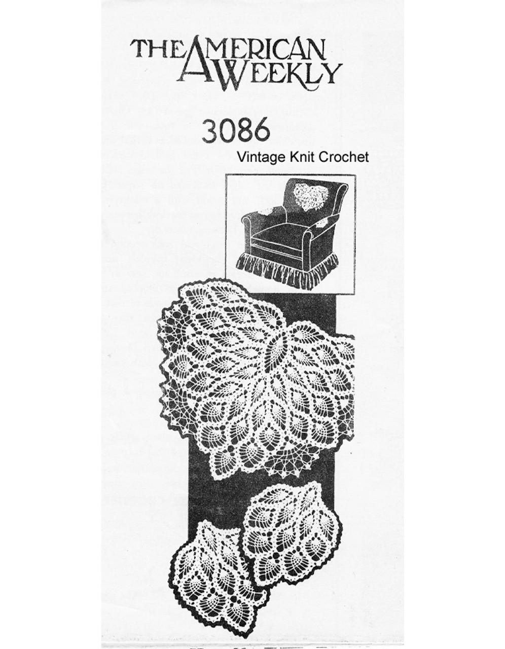 Vintage Pineapple Chair Doily Pattern, American Weekly 3086