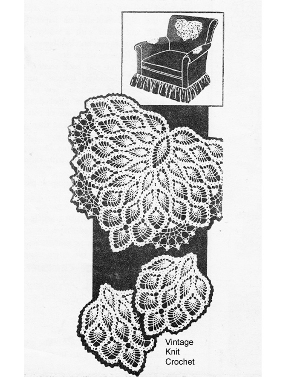 American Weekly Chair Set Pattern, All over pineapples, No 3086