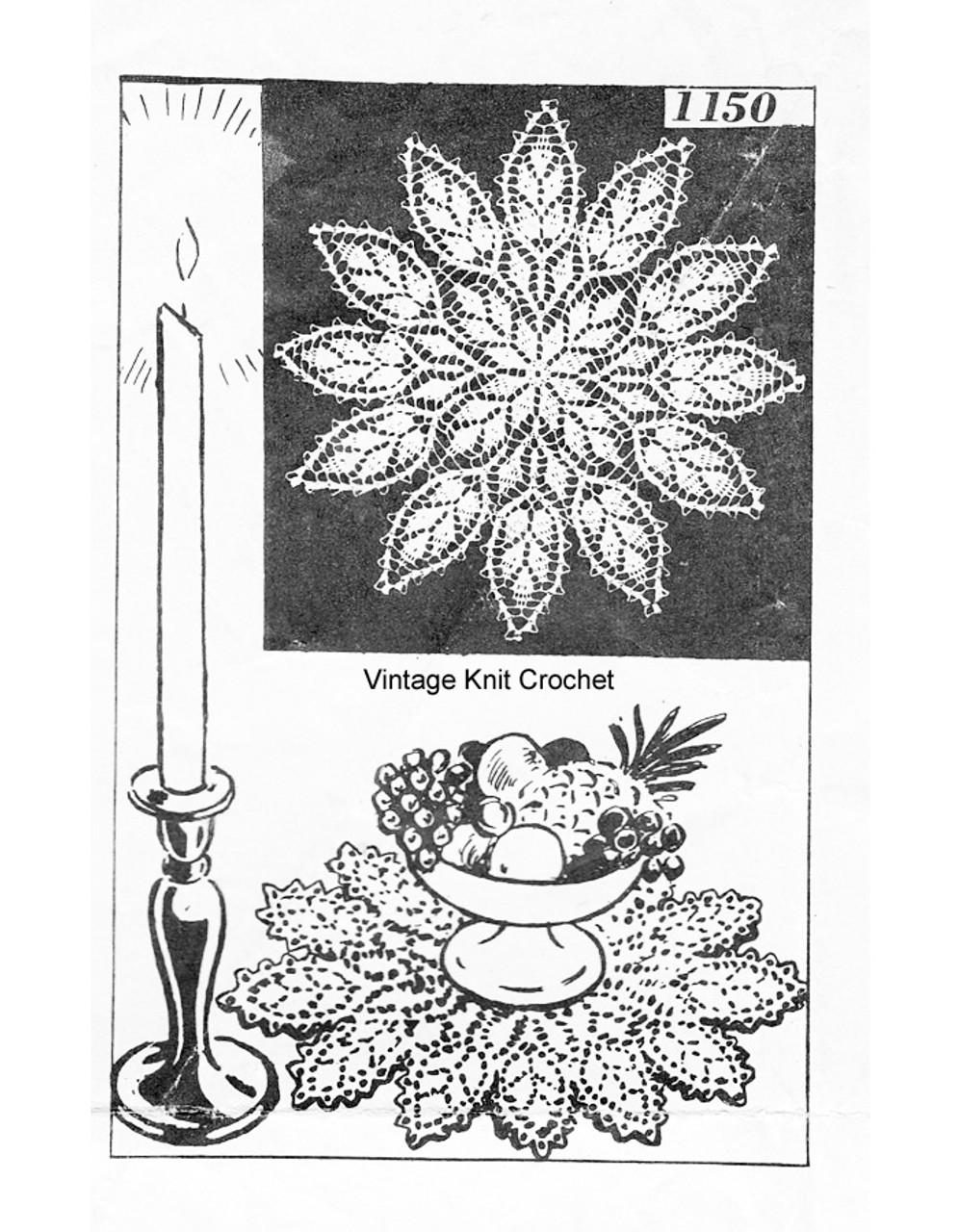Crochet Flower Petal Doily Pattern, Mail Order 1150
