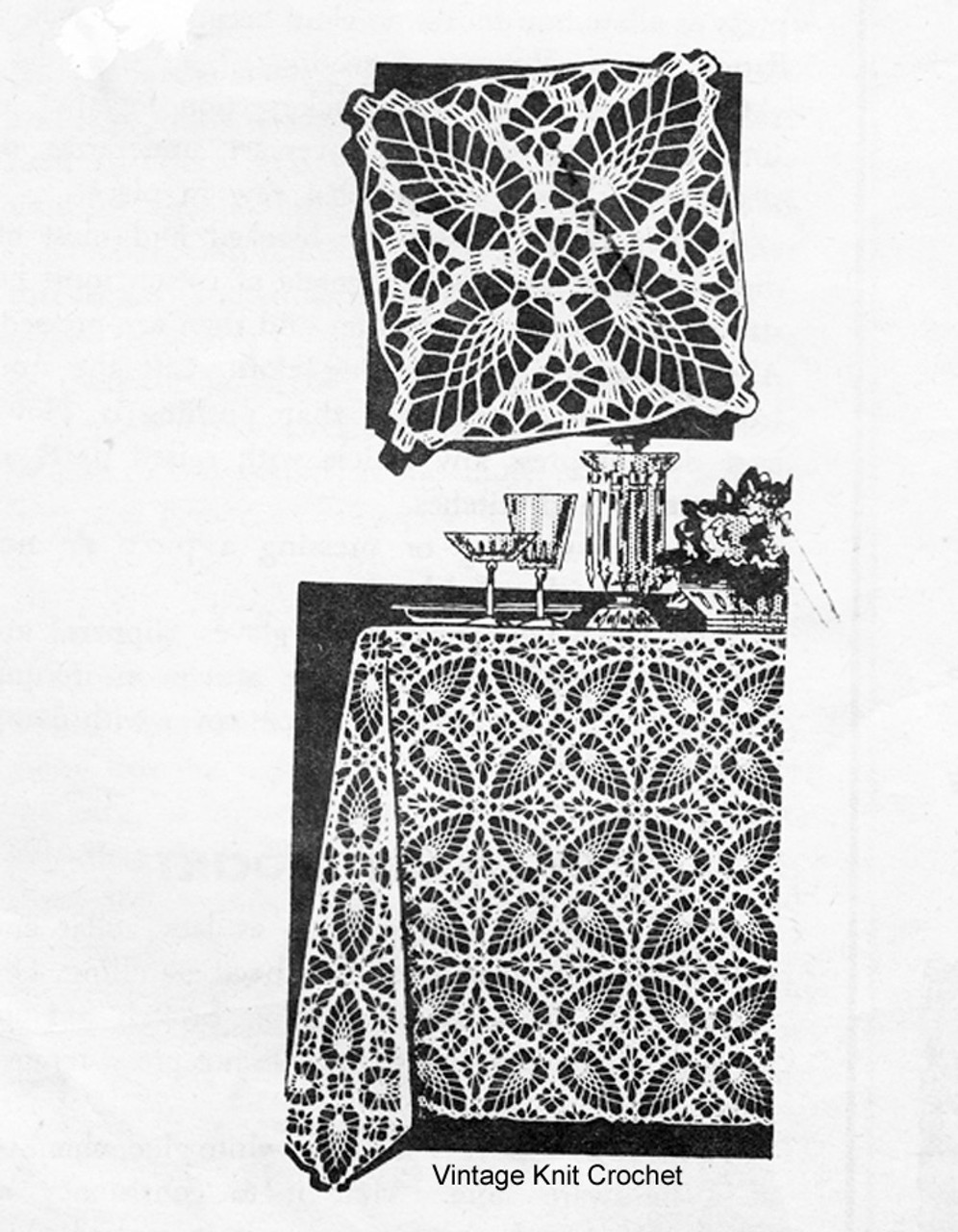 Vintage Pineapple Tablecloth Pattern, Laura Wheeler 839