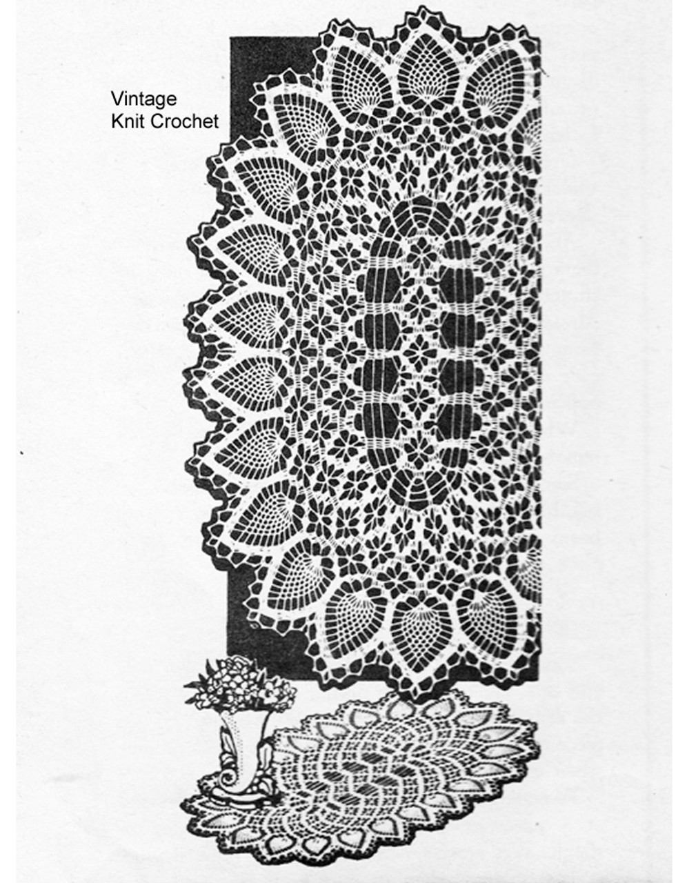 Large Oval Pineapple Doilies Pattern, Laura Wheeler 833