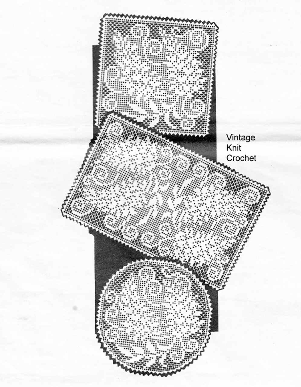 Filet Crochet square doily pattern, Mail Order 657