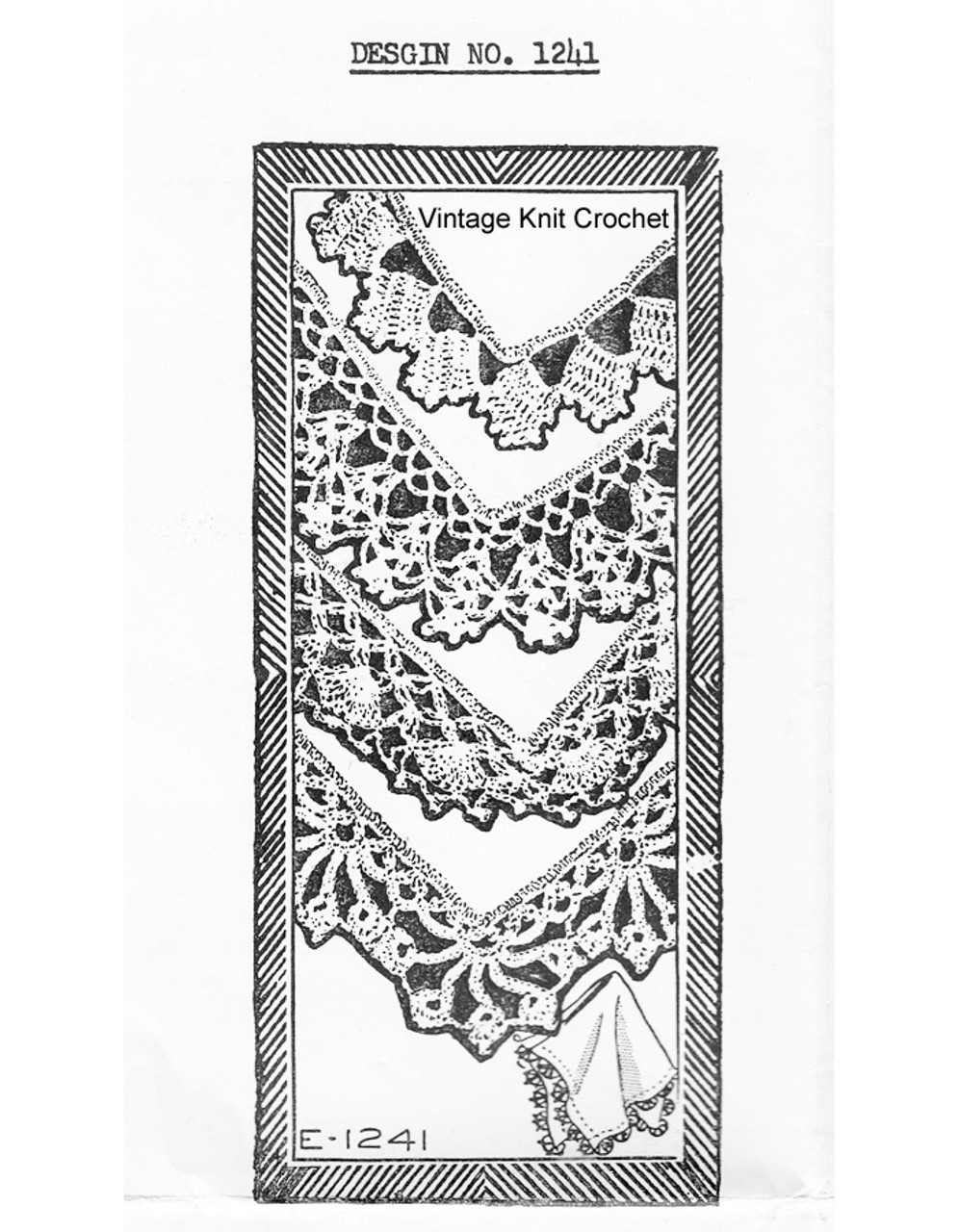 Vintage Crochet Edgings Pattern Design 1241
