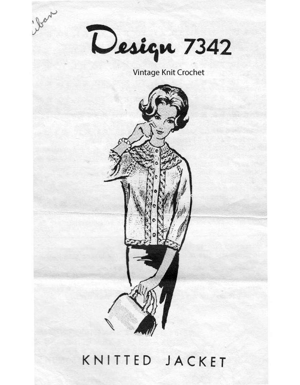 Plus size Jacket Knitting Pattern, Mail Order Design 7342