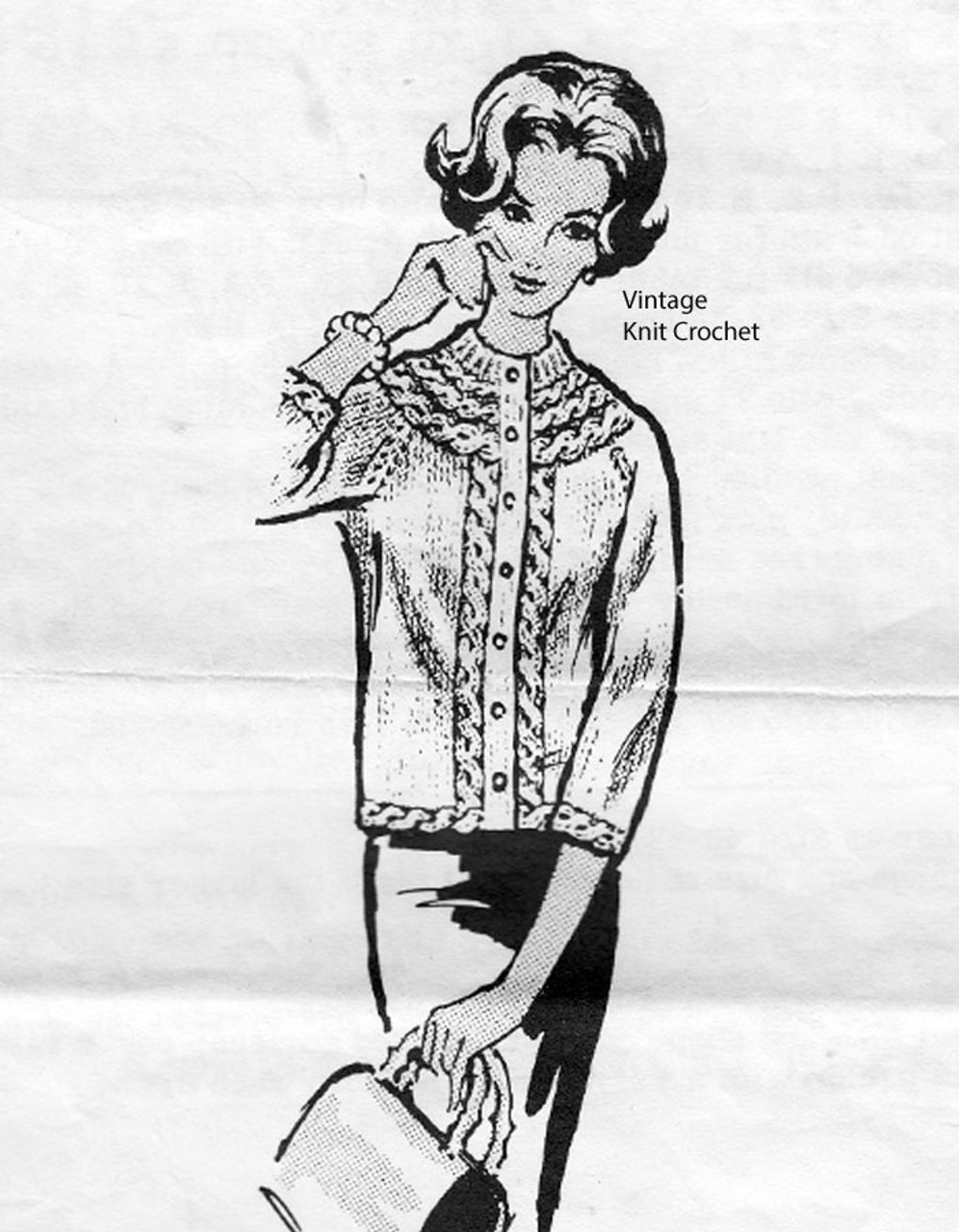 Womans Knitted Jacket Pattern, Alice Brooks 7342