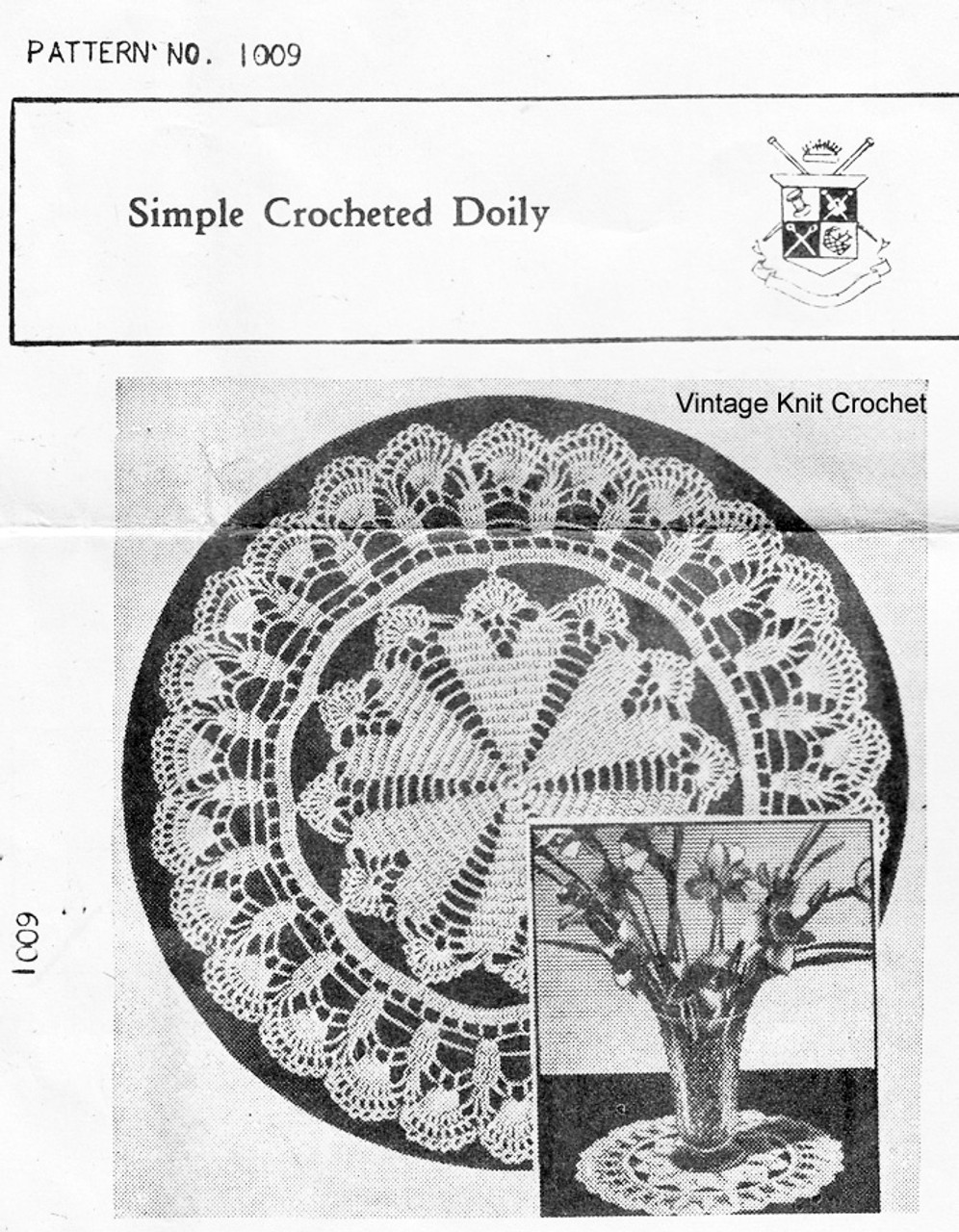 Simple Crochet Doily Pattern, Mail Order 1009
