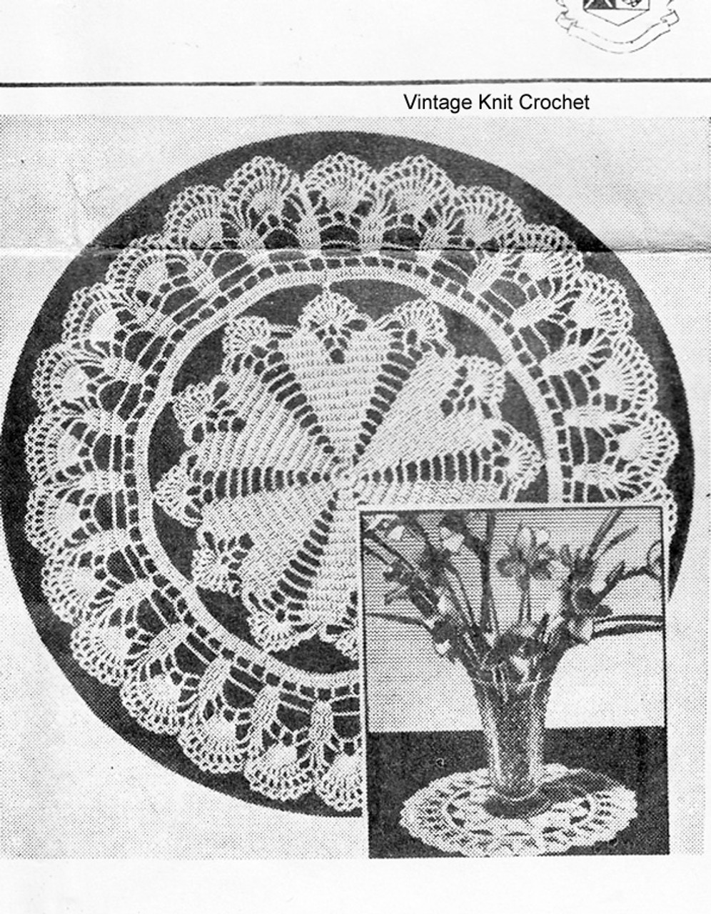 Vintage crocheted shell doily pattern No 1009