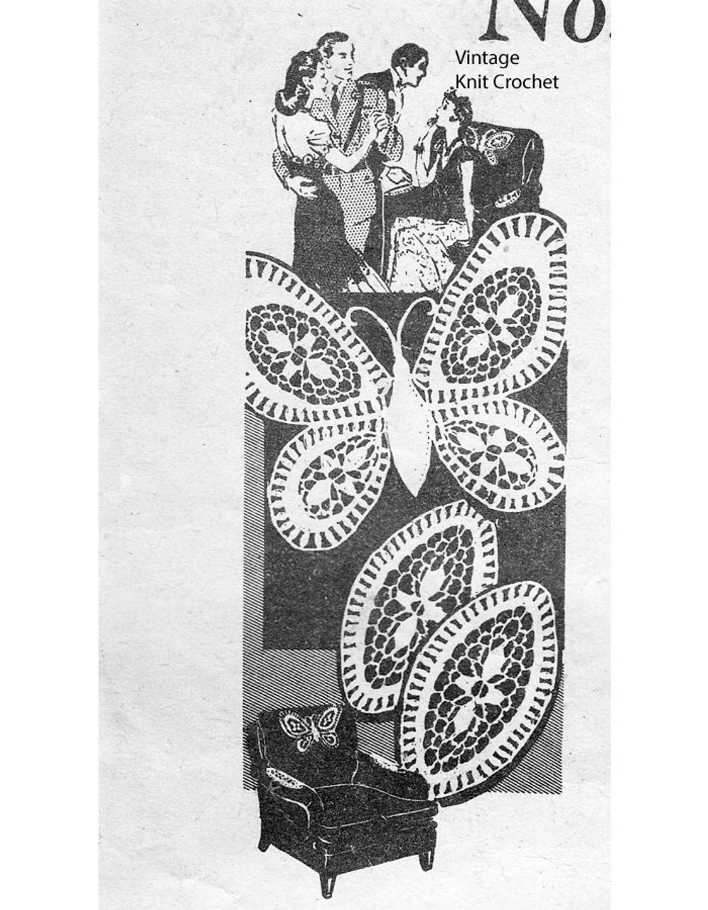 Vintage Crocheted Butterfly Chair Back, arm rests, pattern.  Design 7330