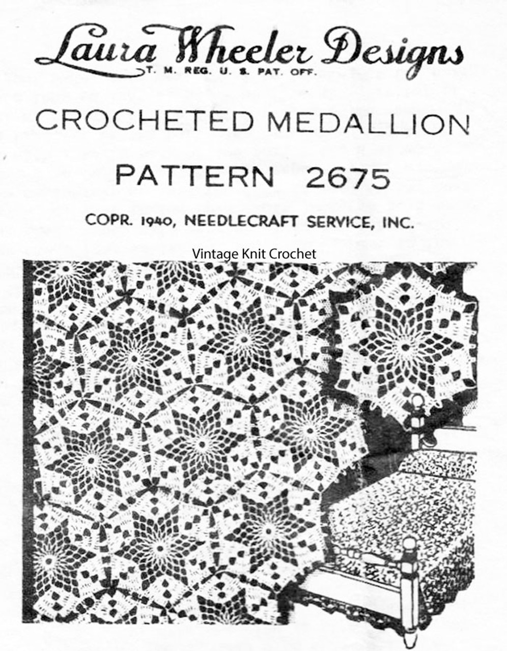 Crochet Bedspread Pattern, Star Medallion, Mail Order Design 2675