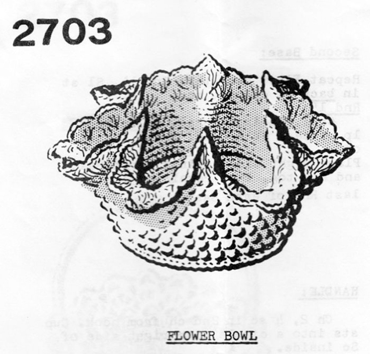 Crochet Milk Glass Bowl Pattern, Mail Order 2703