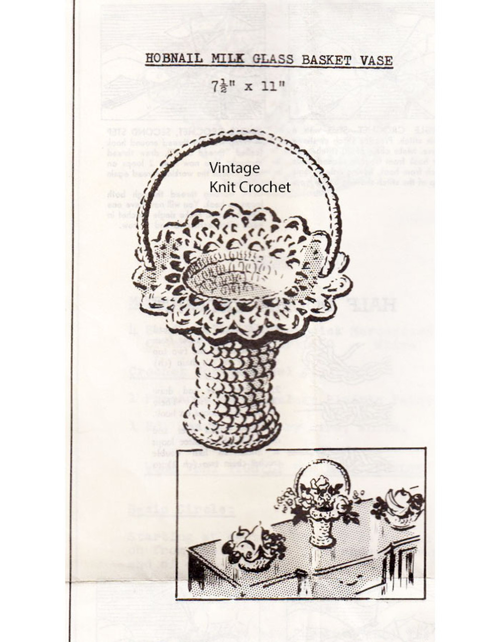 Vintage Crochet Basket Pattern, Anne Cabot 2703