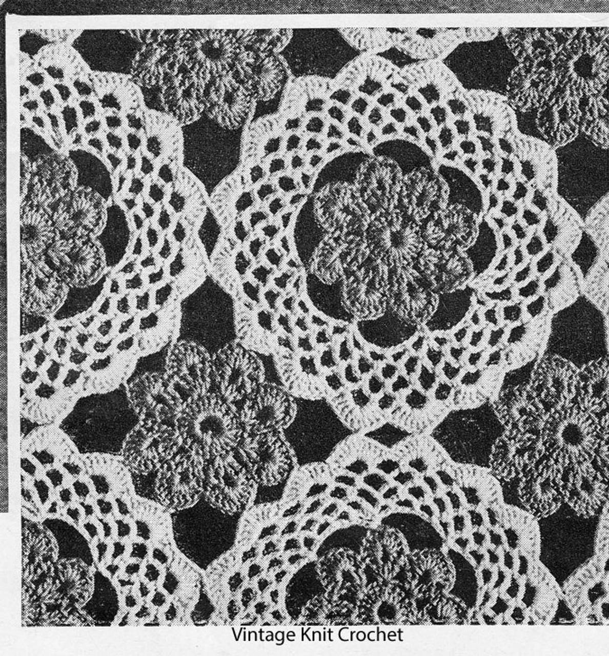 Crocheted Bedspread Flower Medallion Pattern