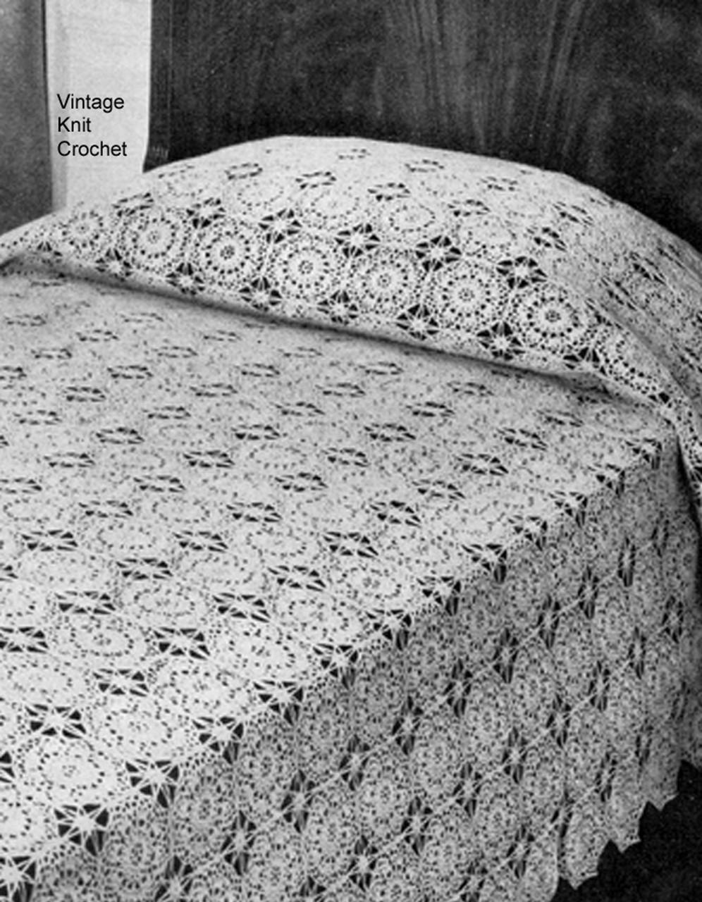 Vintage Crochet Bedspread Pattern in Circular Medallions