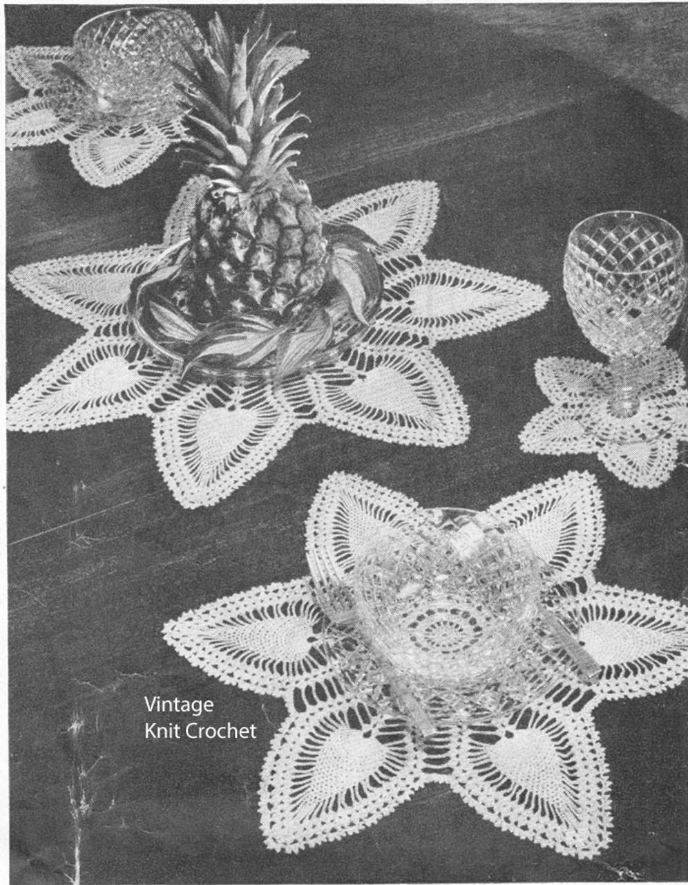 Pineapple Crochet Luncheon Set No 7623