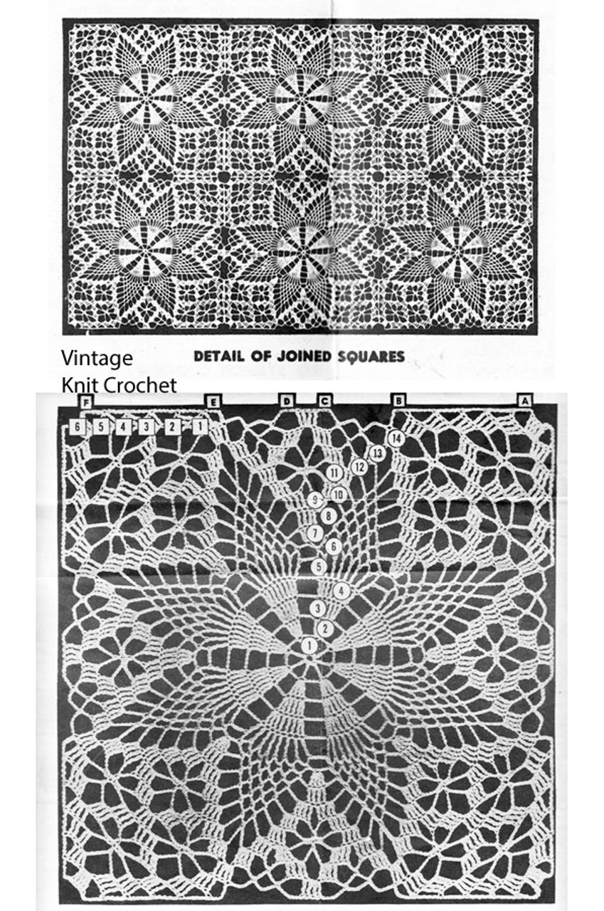 Crochet Square Pattern Illustration for Mail Order Design 7319