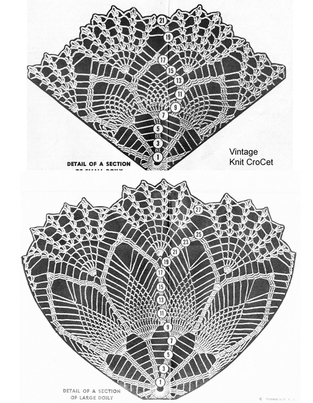 Pineapple Crochet Doily Pattern Stitch Detail, Mail Order 818