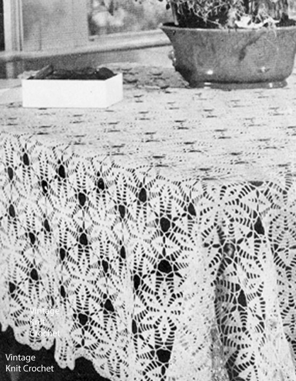 Vintage Crochet tablecloth pattern, Laurel Medallions