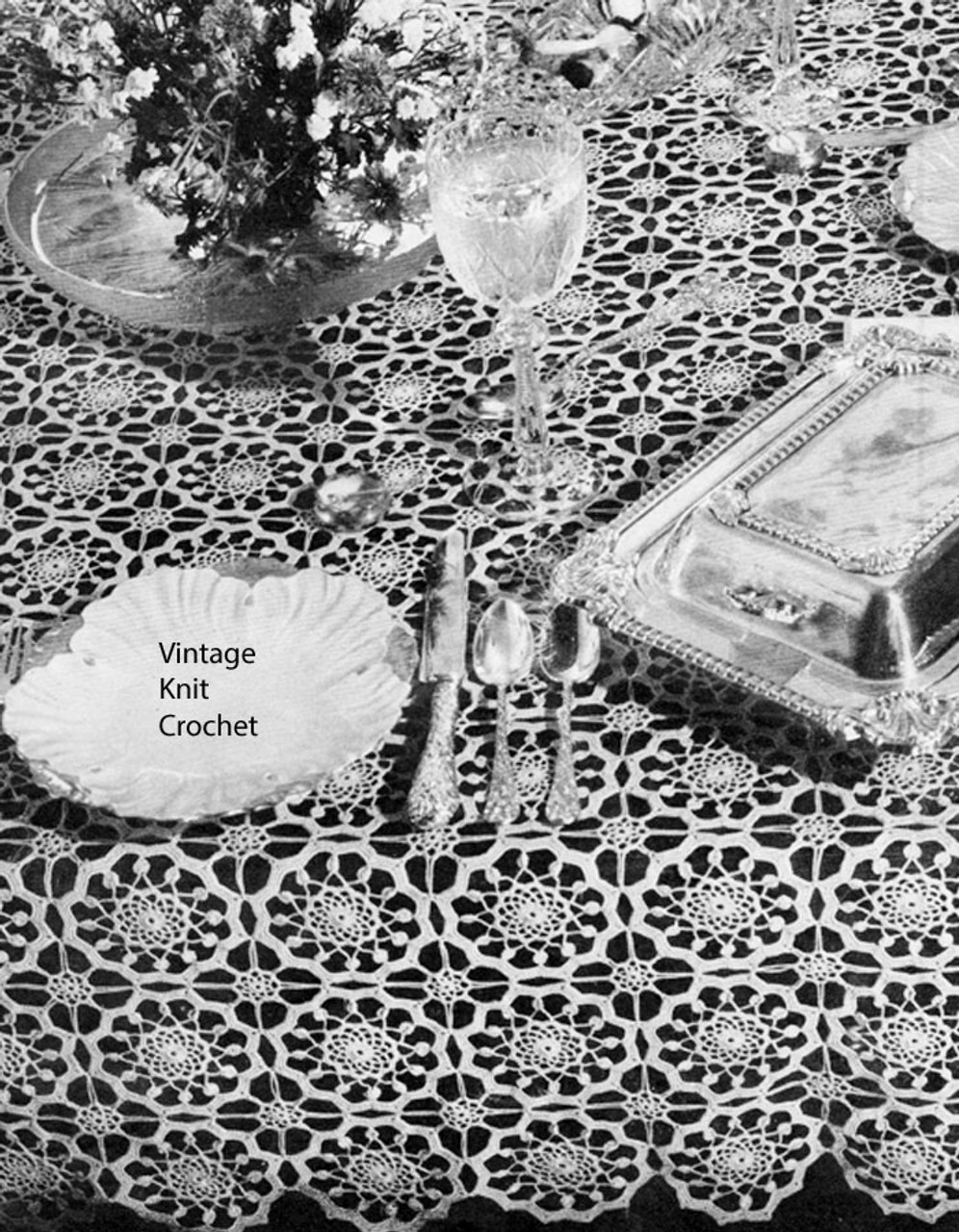 Vintage Crocheted Grand Manner Tablecloth Pattern No 7597