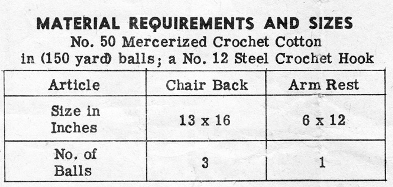 Thread Filet Crochet Requirements for Chair Set