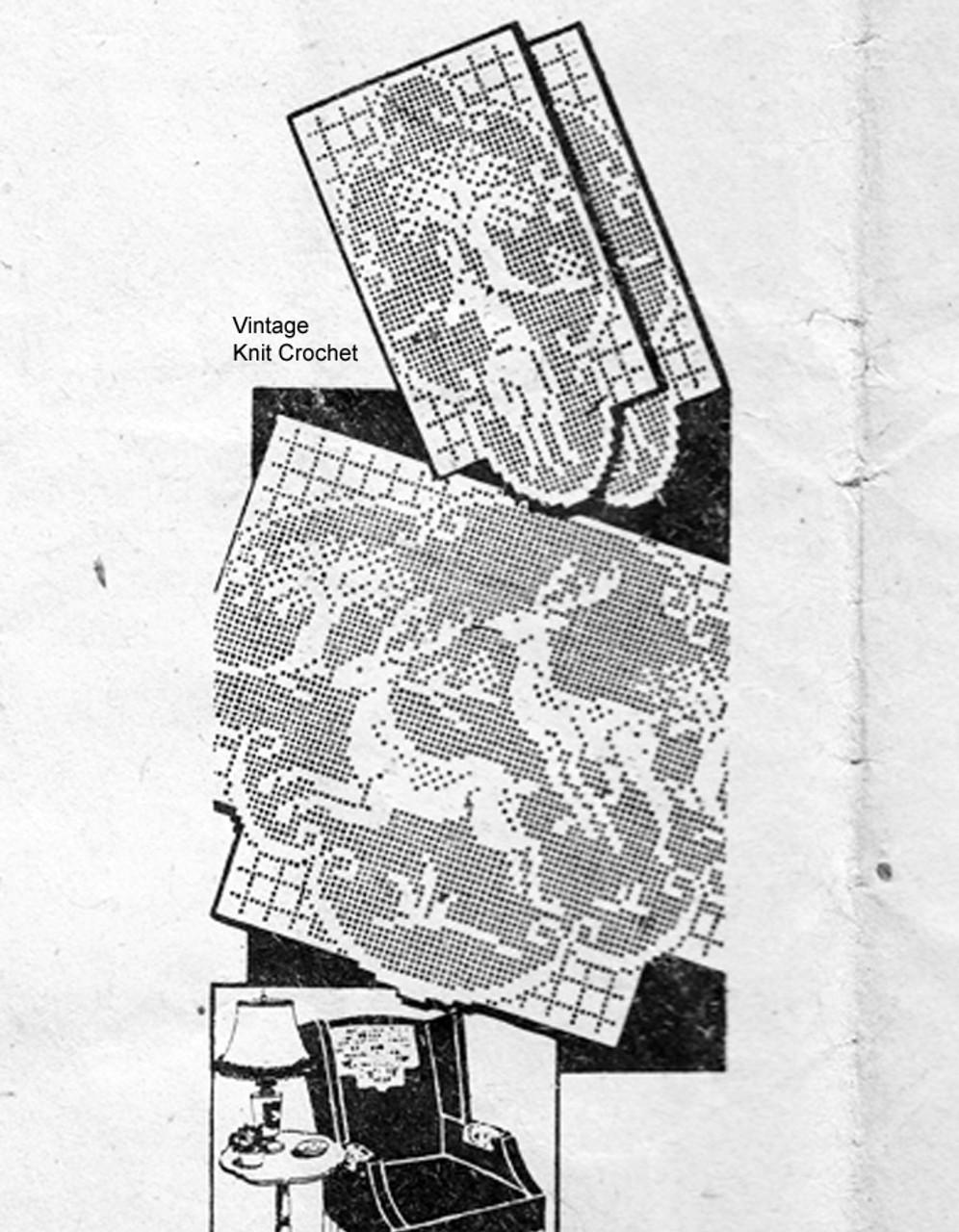 Filet Crocheted Running Deer Pattern, American Weekly 3608