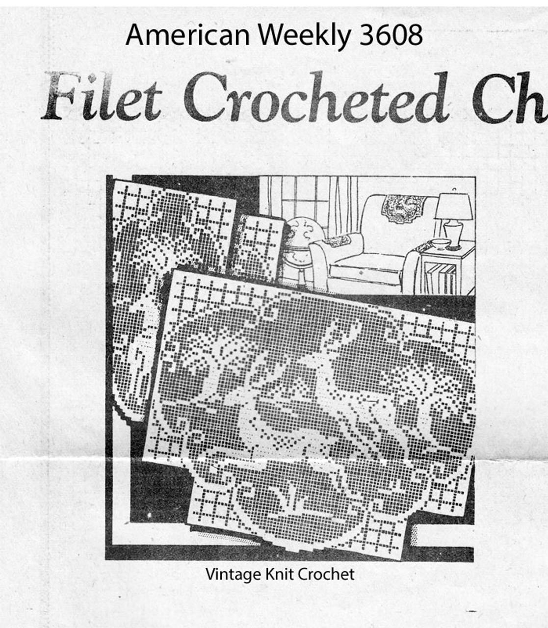 Deer Filet Crochet Pattern, Chair Set, Mail Order Design 3608