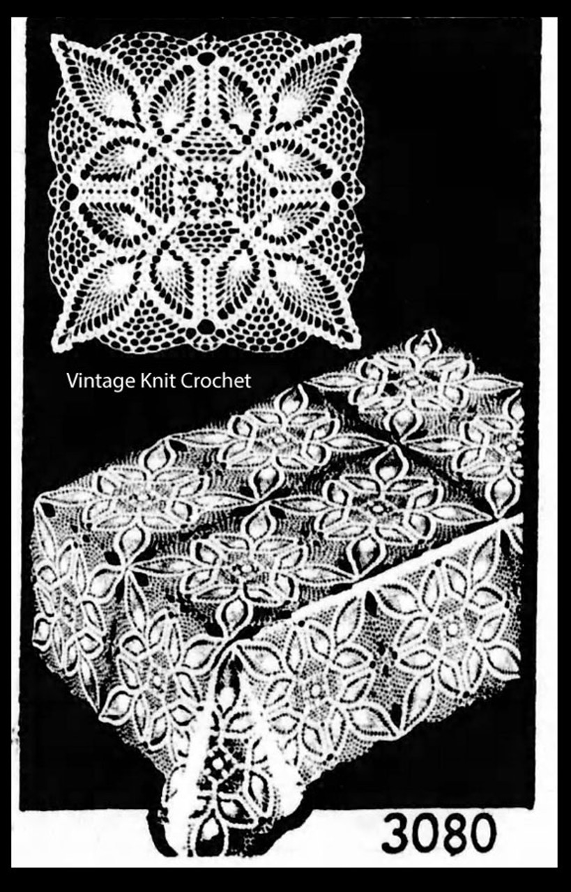 Crochet Pineapple Tablecloth Square Pattern No 3080