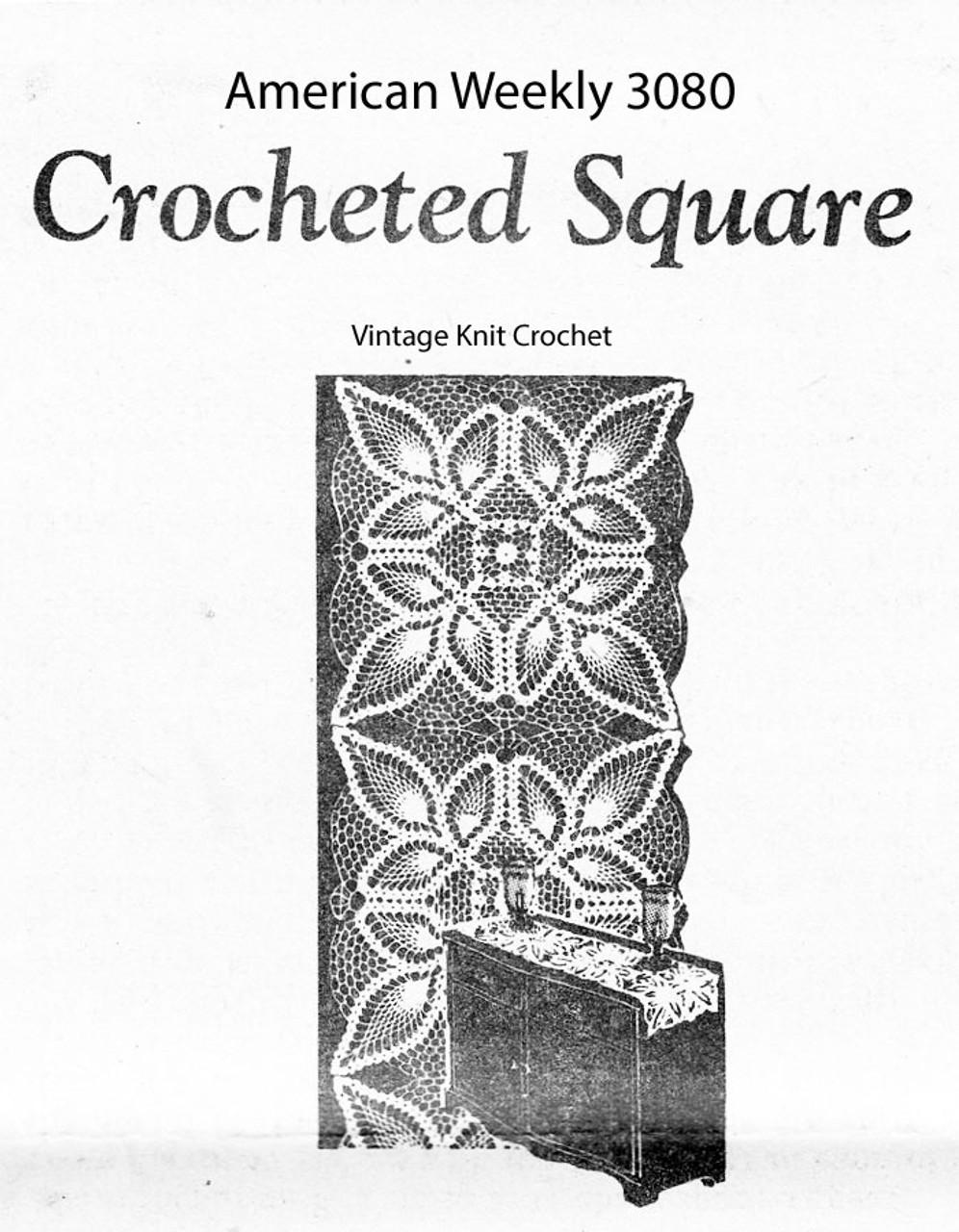 Crochet Pineapple Runner Pattern, Square, Mail Order 3080