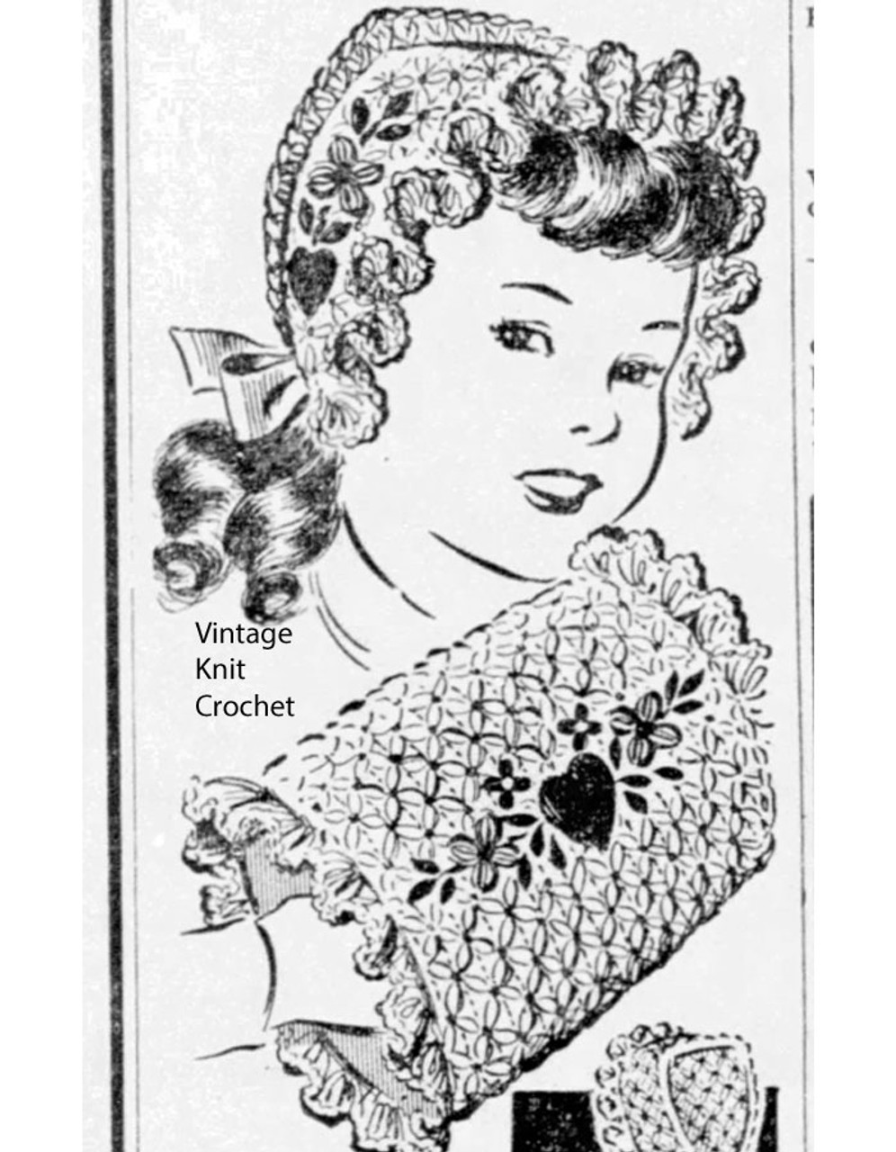 Vintage Girls Crochet Muff Hat Pattern, Anne Cabot 5817