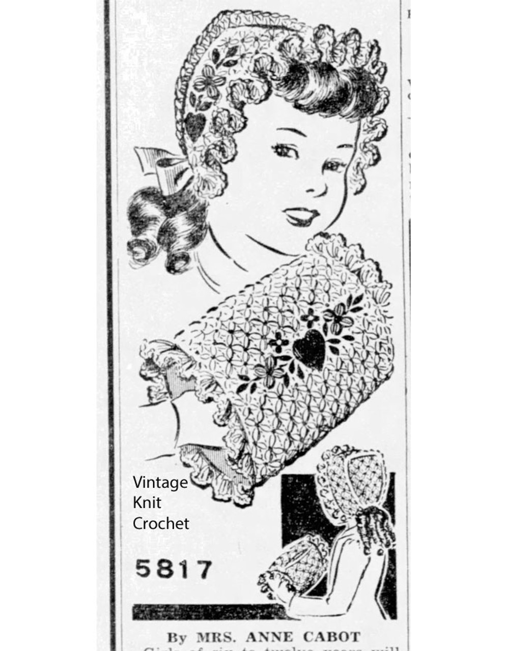 Girls Crochet Bonnet Pattern, Mail Order 5817