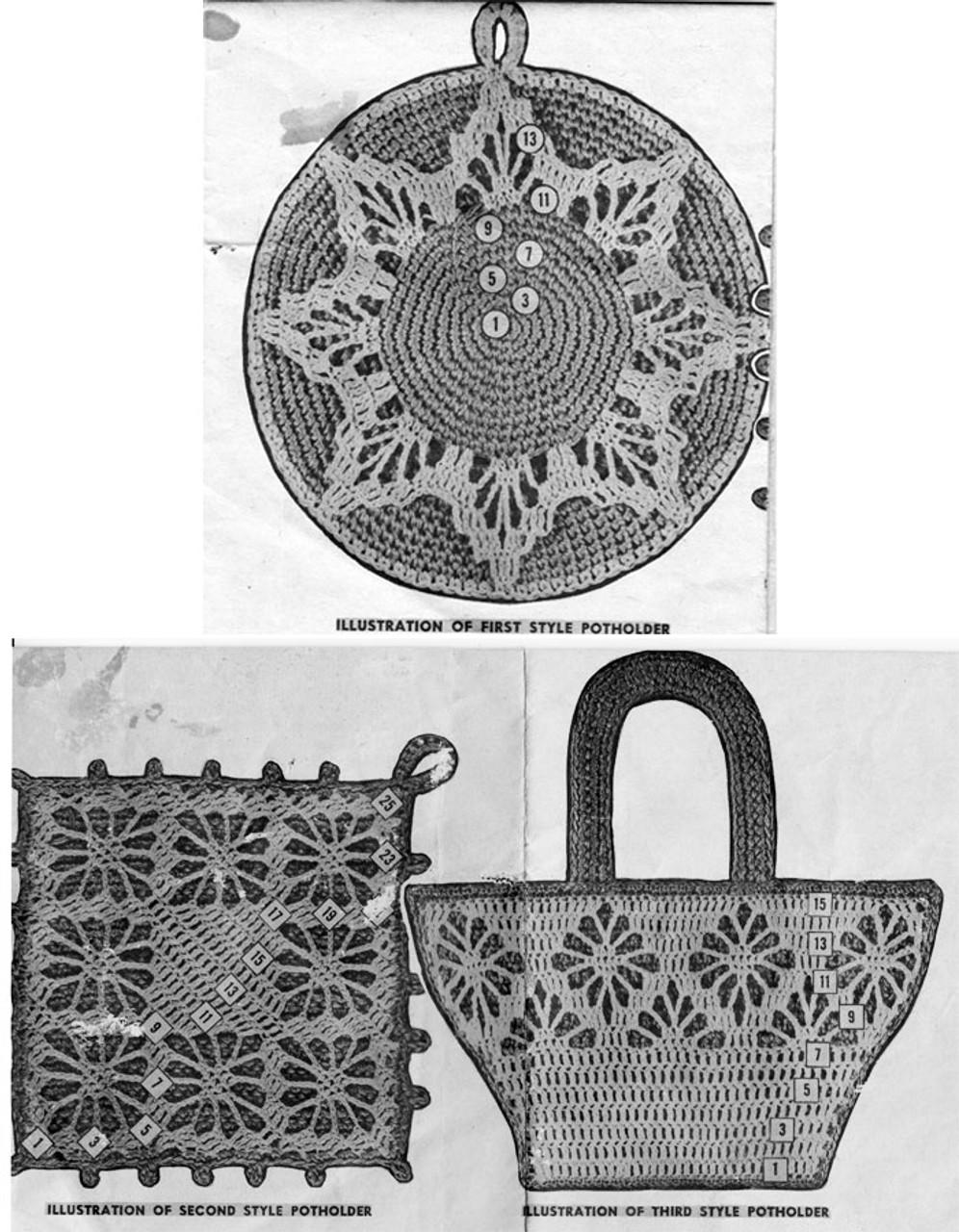 Crochet Potholders, Round Square, Mail Order 3149