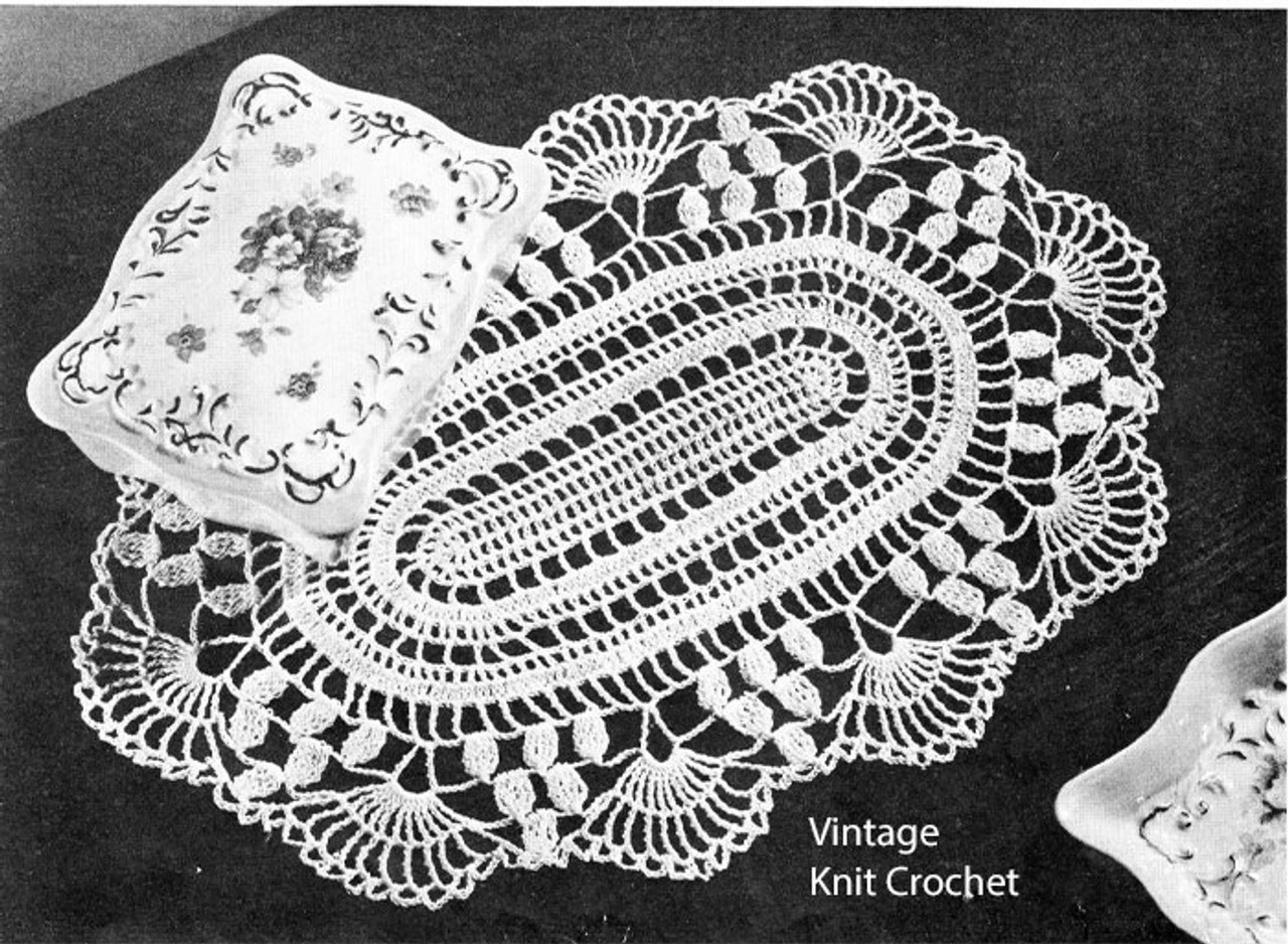 Crochet Oval Doily Pattern, Shell Border