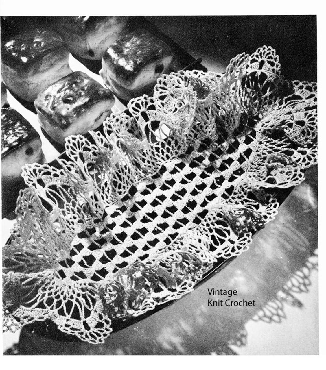 Crochet Bread Tray Doily Pattern, Ruffled Lattice