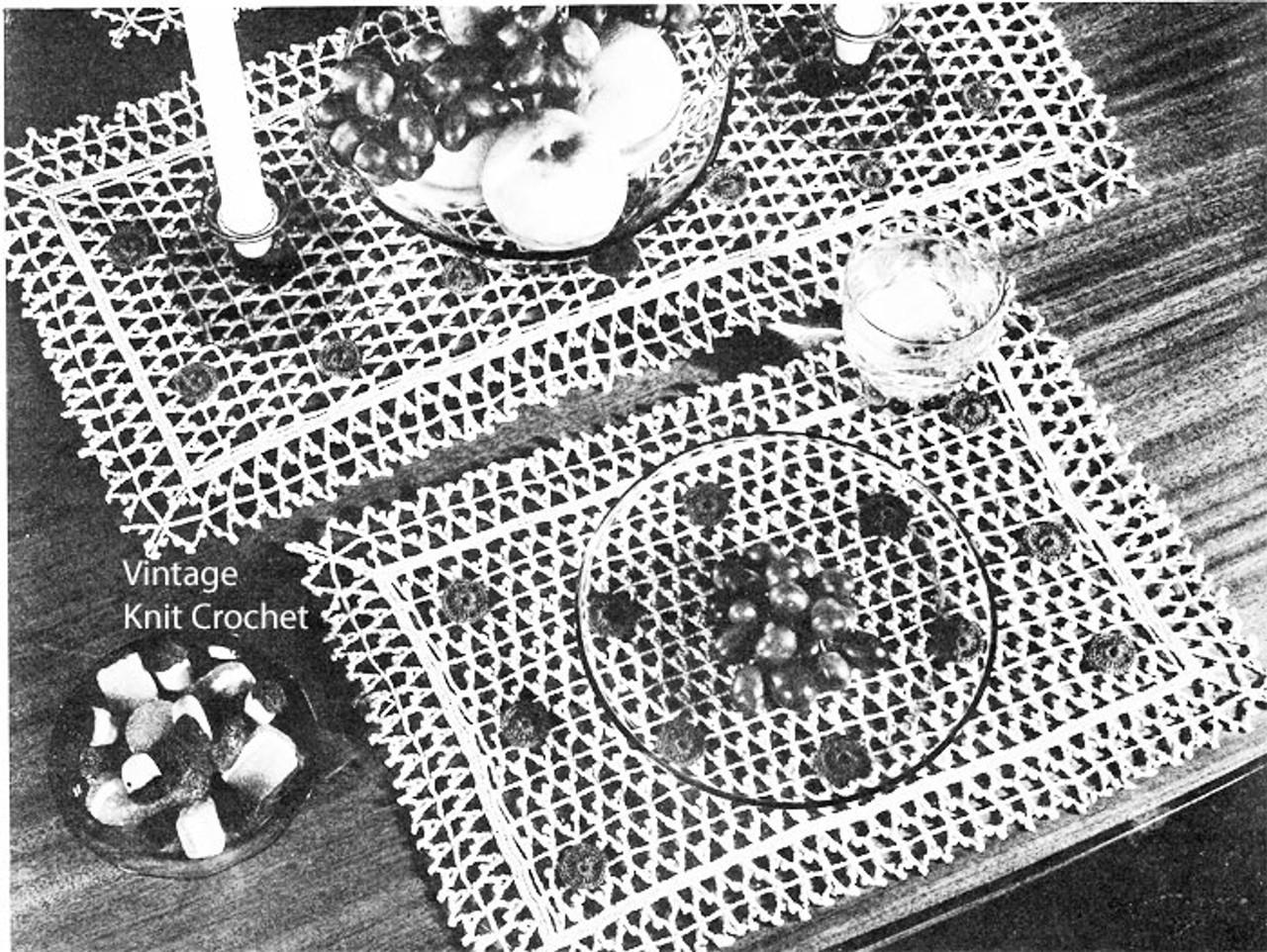 Crochet Mesh Placemat Runner Set No 4-84