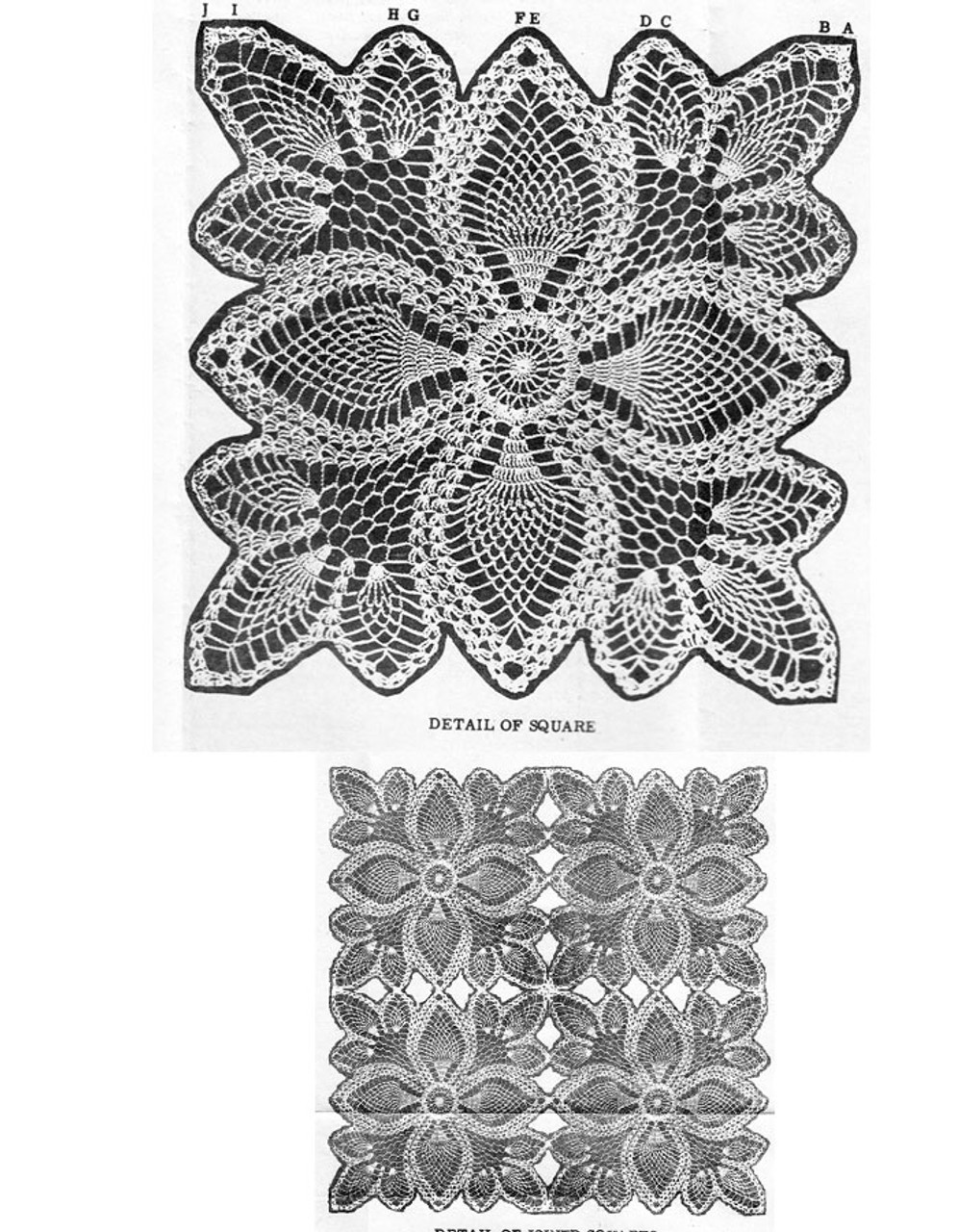 Pineapple crochet square illustration, Design 3075