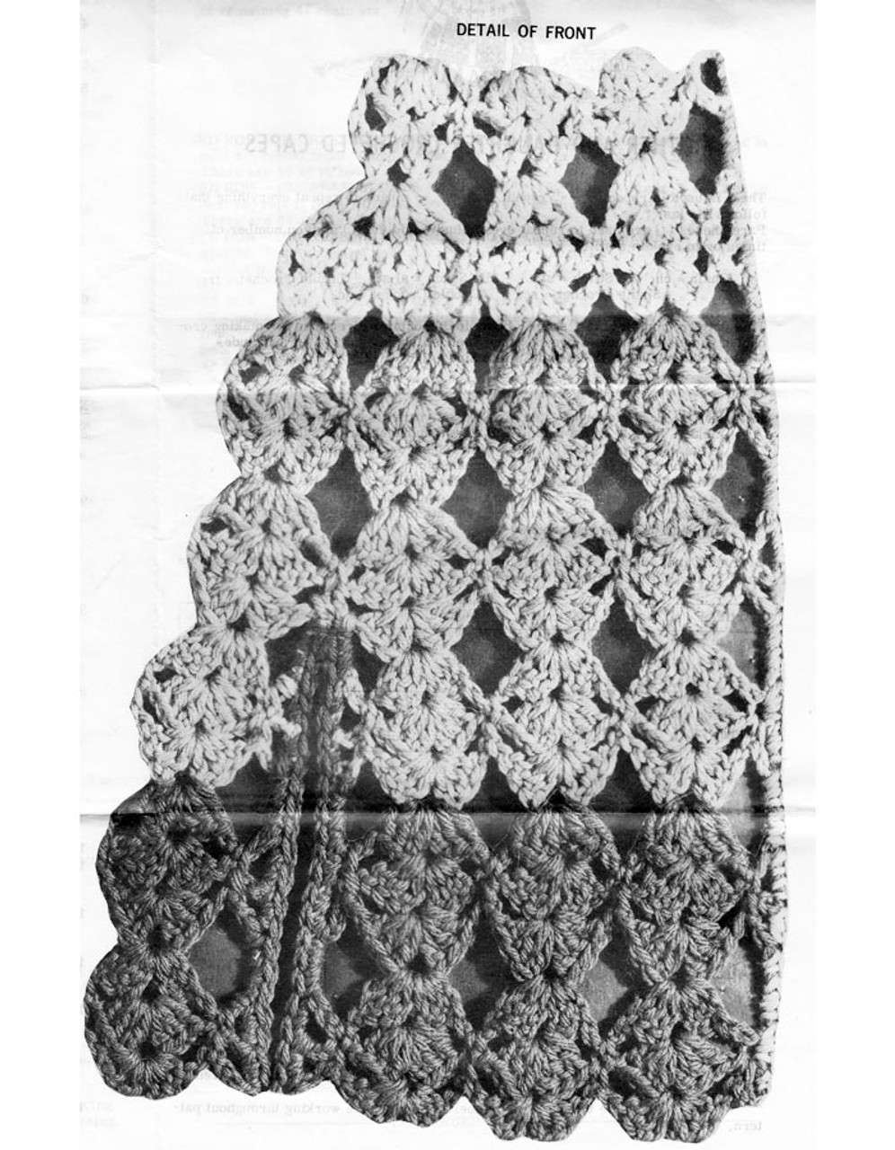 Crochet Cape Shell Stitch Illustration, Mail Order 7099