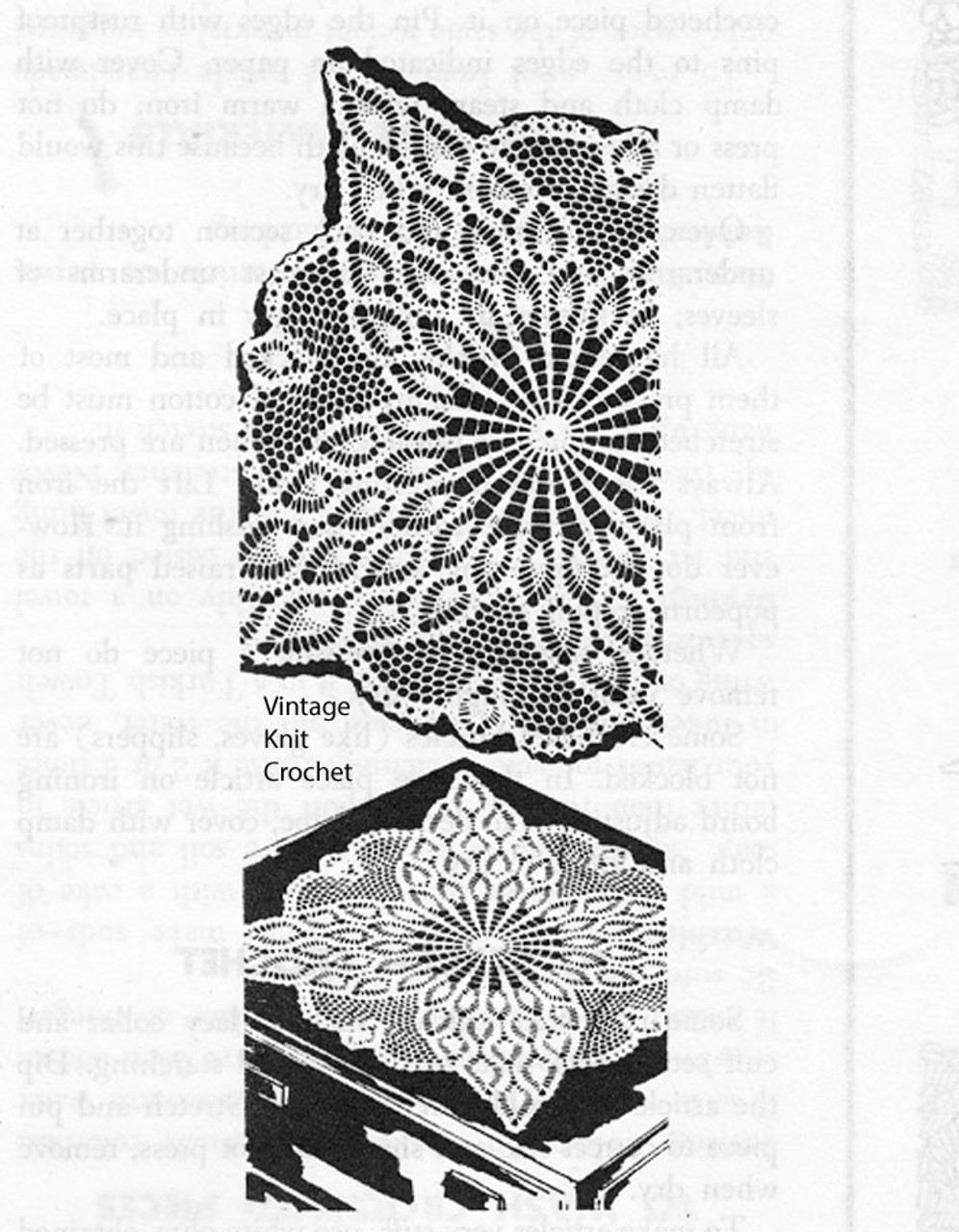 Vintage Square Centerpiece Doily pattern, pineapple, Laura Wheeler 829