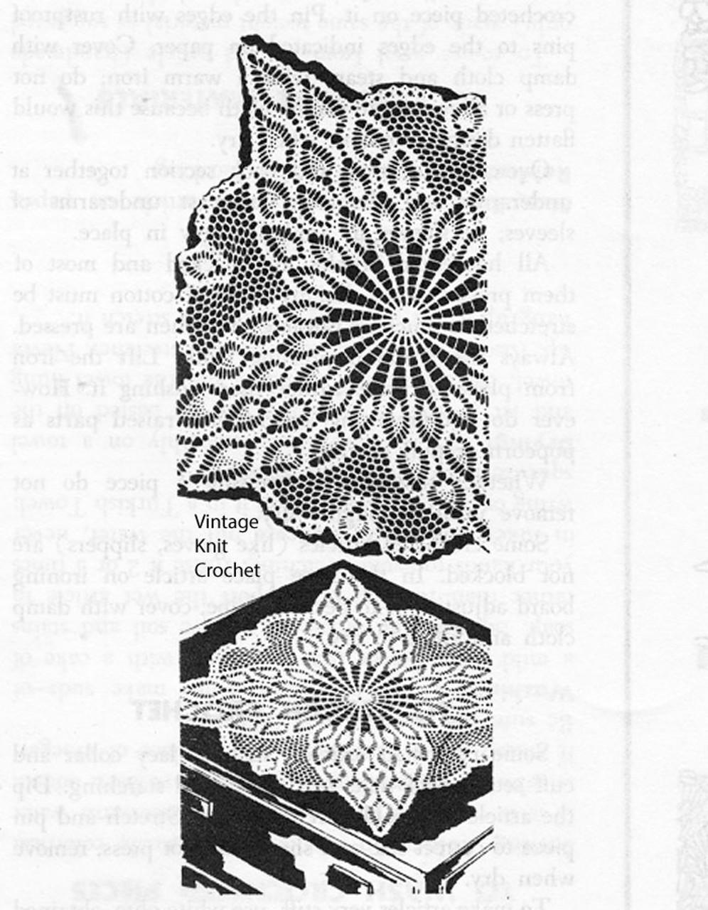 Vintage Square Centerpiece Doily pattern, pineapple, Laura Wheeler 829