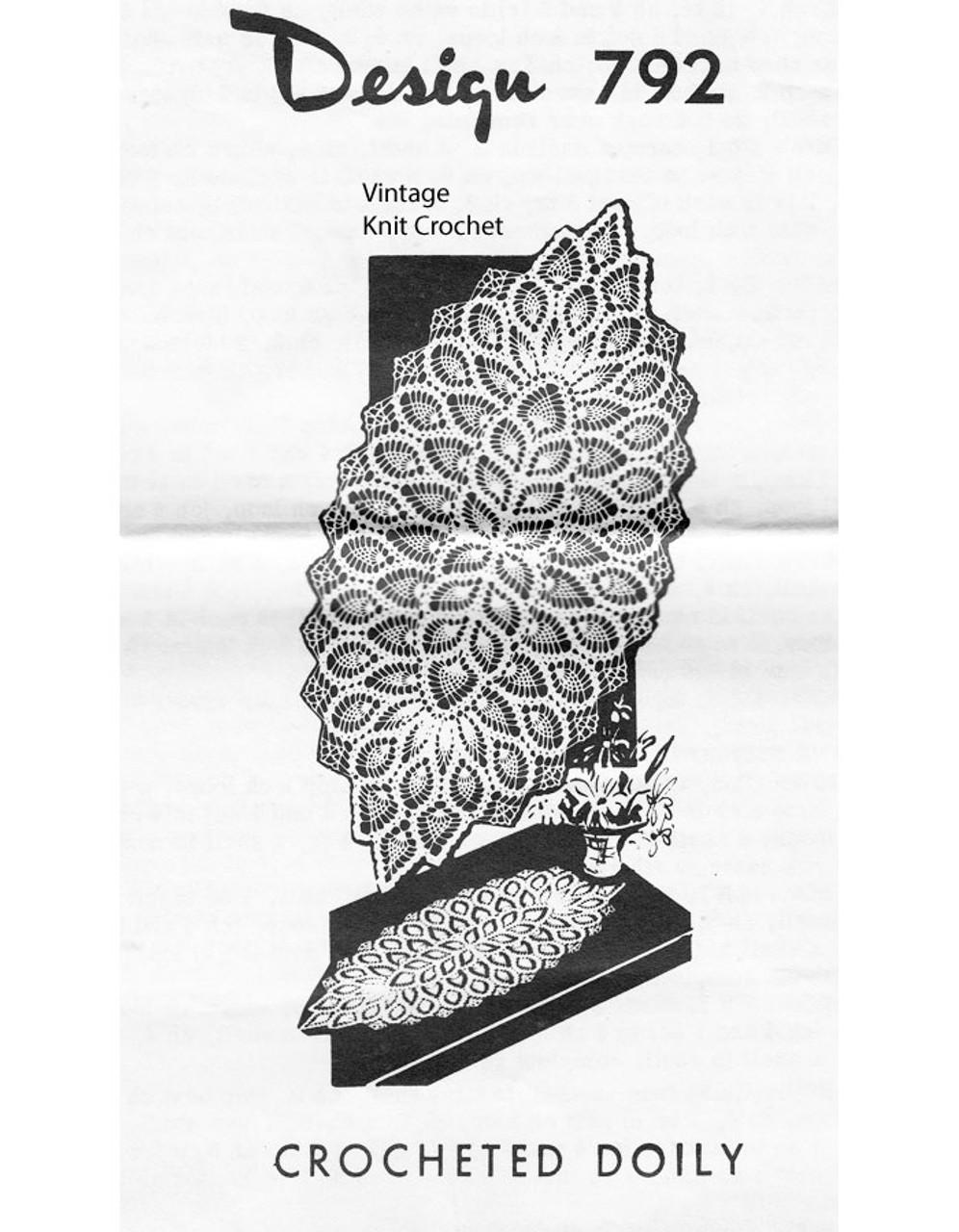 Oval Crochet Pineapple Doily Pattern Design 792