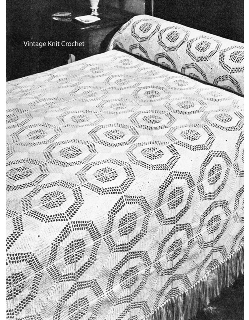 Vintage Octagon Crochet Bedspread Pattern