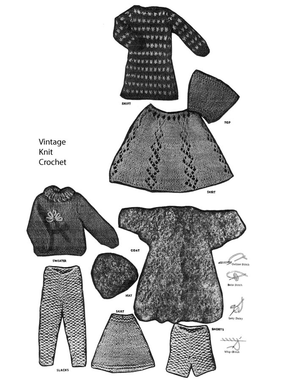 Knitted Barbie Dress Coat Pattern No 7154