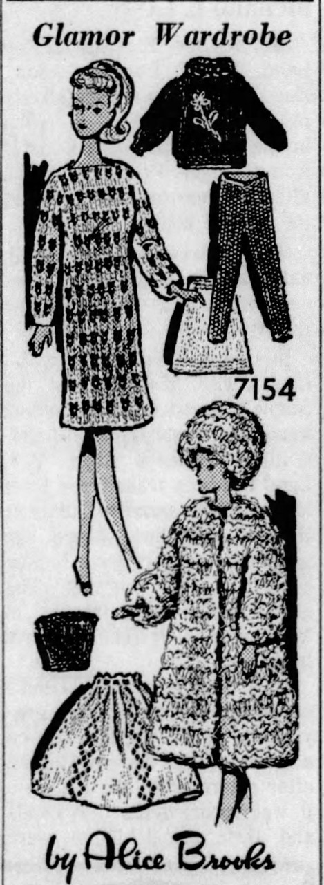 Knitted Barbie Doll Clothes Pattern, Mail Order 7154