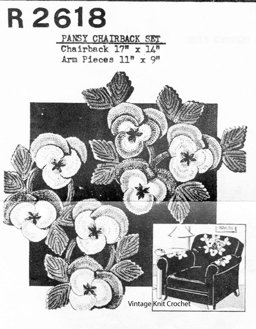 Vintage Crochet pansy Doily Pattern, Chair Set No R-2618