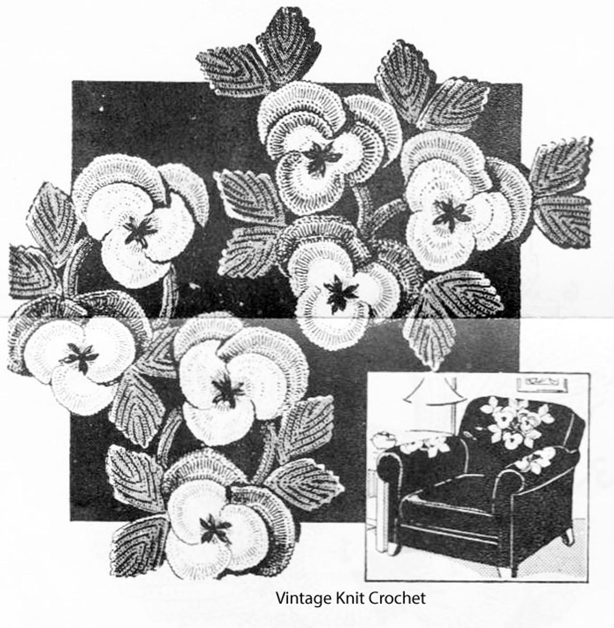 Peggy Roberts R-2618 Crochet Pansy Chair Set Pattern