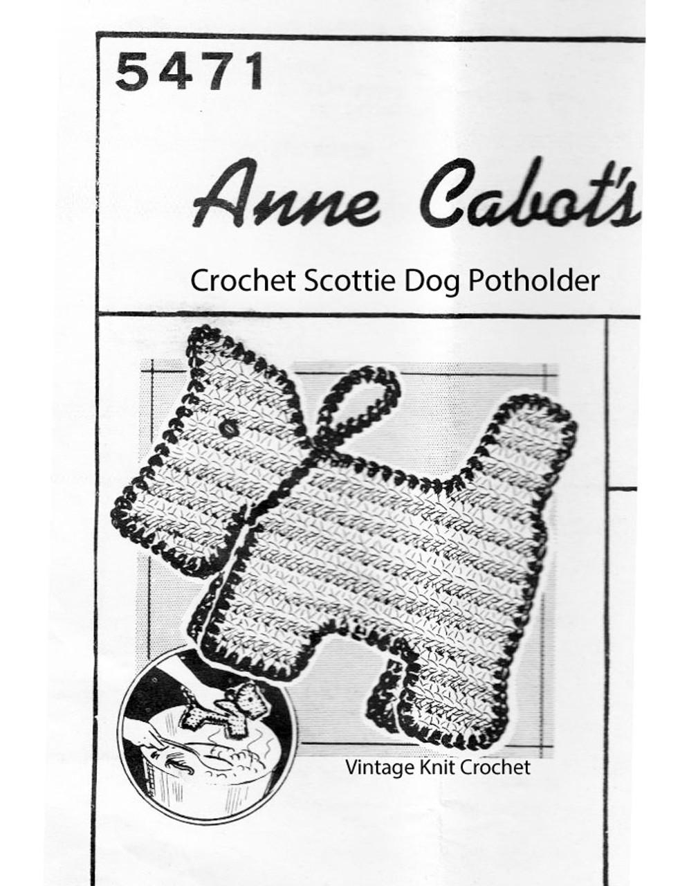 Scottie Dog Potholder Crochet Pattern No 5471