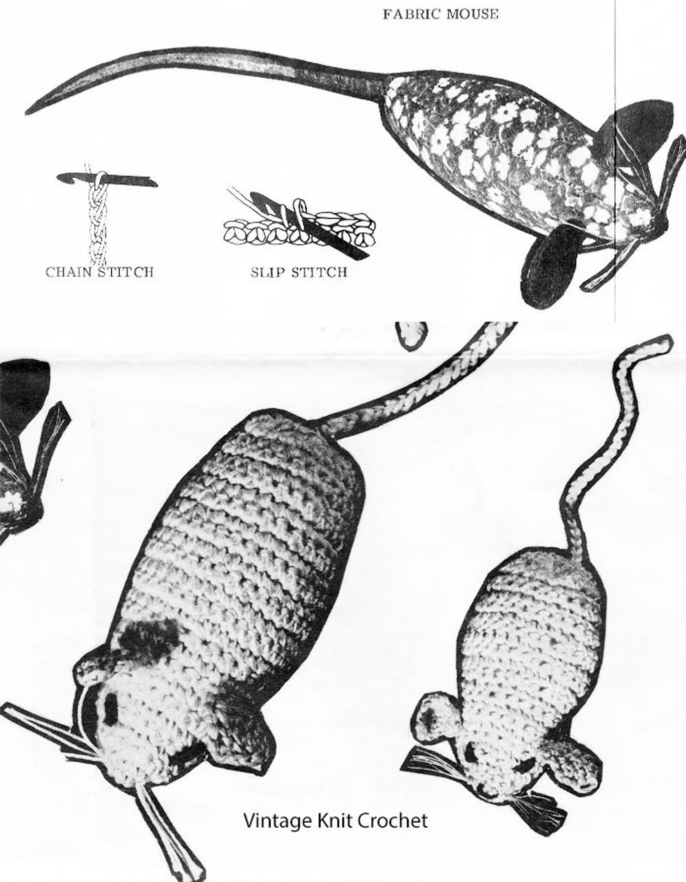 Crochet Mouse Toy Pattern Stitch Illustration, Design 652