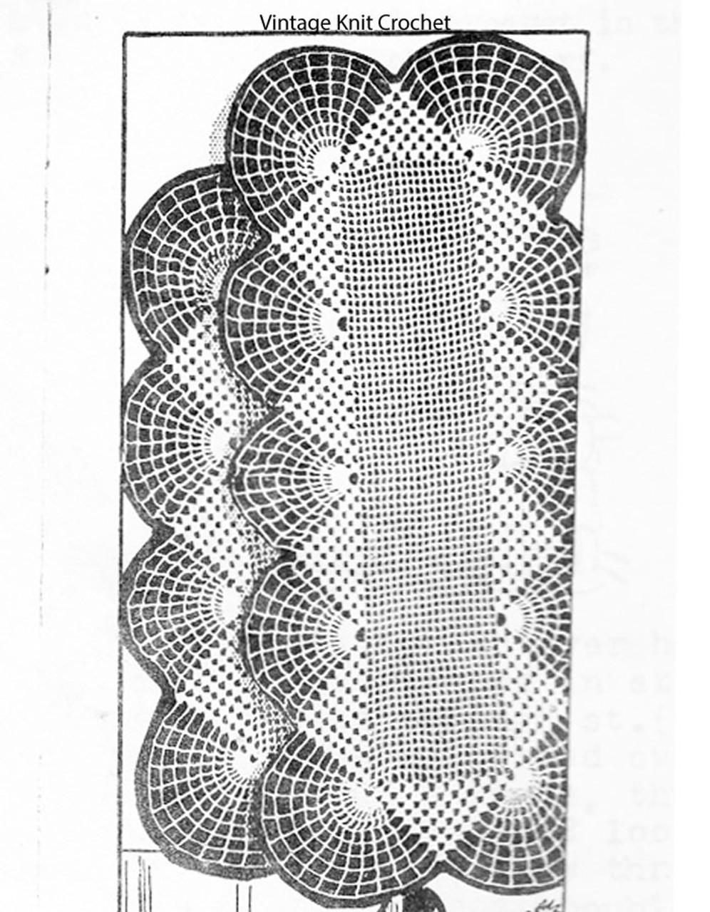 Crocheted Double Fan Scarf Pattern, Needlework Bureau E-1180