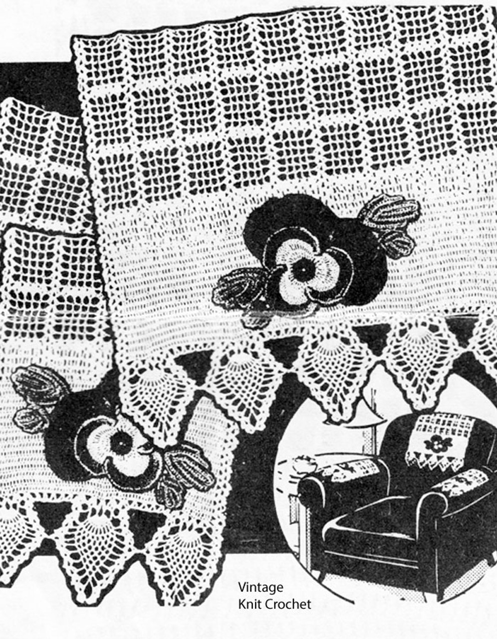 Crochet Pineapple Chair Set, Pansy Applique Pattern, Mail Order R-2717